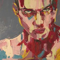 #malarstwo #painting by #Karolina_Janczy - image of series of the faces - under the title Red #portrait #oil_painting on #canvas #signed - size - 80 cm. x 120 cm. #sztuka #art - Copyright - Open Gallery - JanczyArt Group © www.janczyart.com