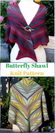 Knit Butterfly Shawl Pattern - Knit Scarf & Wrap Shawl Patterns