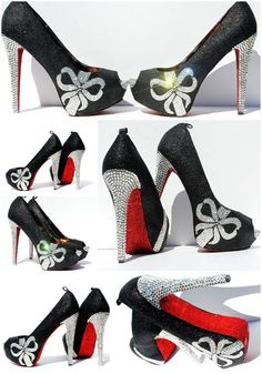 Schwarz rot und Silber Crystal Peep Toe Heels  von WickedAddiction