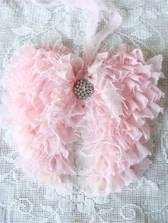Pink Fabric Angel Wings Angel Wings Wall Decor Shabby Tattered Cottage Chic Home Decor Christmas Wedding Bride Baby Soft Sweet Romantic Boho Diy Angel Wings, Angel Wings Wall Decor, Angel Decor, Shabby Chic Christmas, Pink Christmas, Christmas Wedding, Christmas Stuff, Cottage Style Decor, Cottage Chic