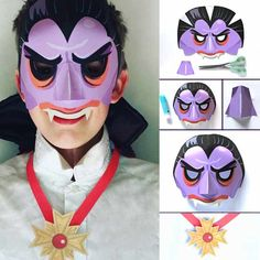 Vampire Mask: DIY Halloween costumes and craft activity • Happythought Printable Halloween Masks, Diy Halloween Costumes, Easy Halloween, Halloween 2019, Diy And Crafts Sewing, Crafts For Girls, Easy Dress, Leprechaun, Animal Set