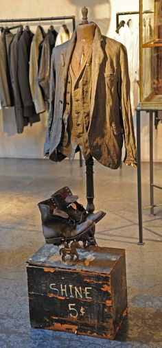 "MADEWORN,Maxfield Malibu,LA, "",MadeWorn Jacket and vest with handmade leather boots display!"", pinned by Ton van der Veer"