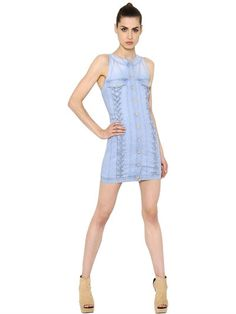 BALMAIN - LACE UP COTTON DENIM DRESS - DRESSES - LIGHT BLUE - LUISAVIAROMA