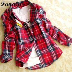 Womne Blusas Autumn Winter Cotton Long-sleeved Women's Plaid Shirt Flannel Blouses Femin https://seethis.co/e322Em/