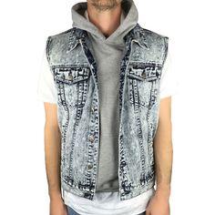 enslaved The Denim Trucker Vest in Acid Wash ($44) ❤ liked on Polyvore featuring men's fashion, men's clothing, men's outerwear, men's vests and acid wash