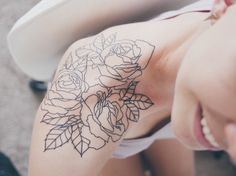 My three-rose tattoo // Roses from my grandfathers garden in England #rose #tattoo #ink #tattoos #roses