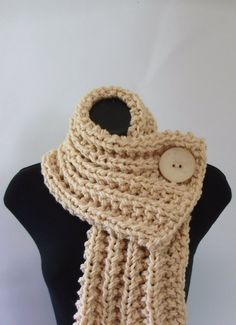 76b37a5ca14 Cream White Chunky Knit Cowl with Large Cream Button