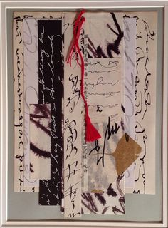 """Paper Robe."" Ink calligraphy collage from Salon de Refuse Studio, artist Rita McNamara. 10 x 14."""
