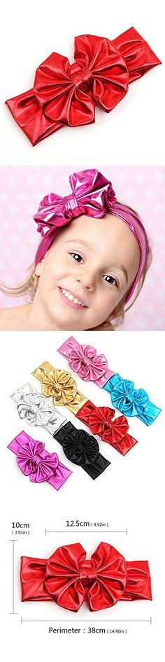Himipopo Fashion Baby Girls Metallic Messy Big Bow Girl Headband Hairband Bowknot HeadWrap (1)