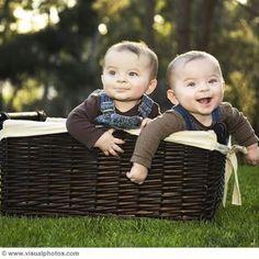 Twin Boys in a Basket