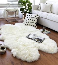 on sale $179 Four Pelt Natural White Quarto Sheepskin Rug 4x6
