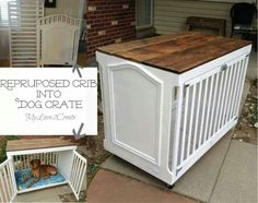 Baby crib rails used for interior dog crate.