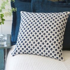 This charming indigo and white embroidery was inspired by our good friends at K*Colette in Portland, ME. 100% Linen and filled with a 100% white feather and down insert.