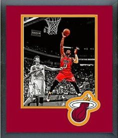 Dwyane Wade Framed With Team Color Double Matting Ready To Hang- Awesome & Beautiful