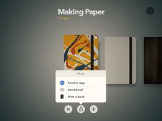 Paper, share, options, iPad