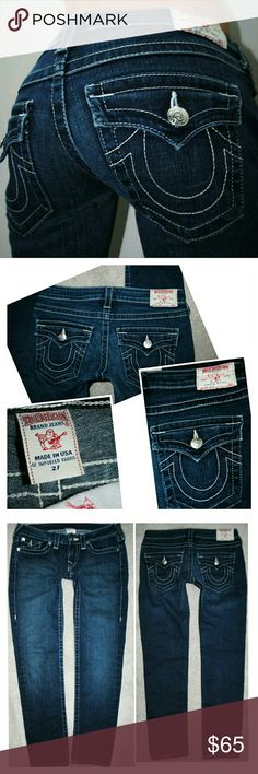 TRUE RELIGION JULIE SKINNY DENIM JEANS 4 27 Authentic Hemmed to.a 26 inch ankle inseam True Religion Jeans Skinny
