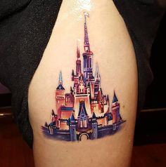 33 Exquisite Disney Castle Tattoo Designs - TattooBlend - Disney Castle Tattoo by Tyler Malek - Walt Disney Tattoos, Disney Sleeve Tattoos, Cute Disney Tattoos, Body Art Tattoos, New Tattoos, Tattoo Ink, Tatoos, Piercing Tattoo, Piercings