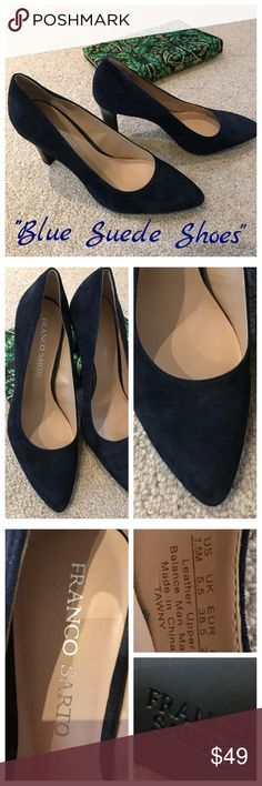 """FRANCO SARTO Navy Suede Pumps NWOT Gorgeous and hard to find NAVY suede pumps. Navy patent leather 3"""" heels. Rubber soles for great winter """"grip"""". US 7.5 Euro 38.5. NEW! Franco Sarto Shoes Heels"""