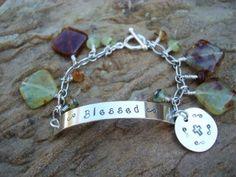 Blessed Hand-Stamped Bracelet w/Green Garnet Dangles, Sterling Silver