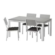 $410.96 IKEA - FALSTER, Table and 4 chairs, outdoor, Falster gray/Hållö black, , Polystyrene slats are weather-resistant and easy to care for.The furniture is both sturdy and lightweight as the frame is made of rustproof aluminum.