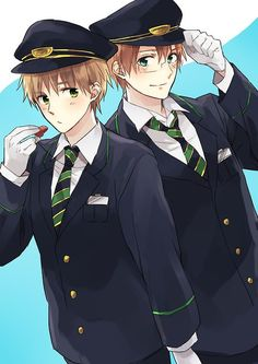 """Air pilots Kirkland and Jones at your service!"" - I would literally fly to heaven if they were piloting an airplane that I happened to be riding. <3 - Hetalia"