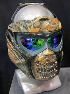 Great example of a custom made paintball mask. Made with non-traditional parts and designed with full face coverage. Airsoft Gas Mask, Airsoft Full Face Mask, Airsoft Helmet, Full Face Helmets, Airsoft Guns, Paintball Field, Paintball Gear, Impression Hydrographique, Tac Gear
