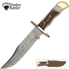 Stag and Brass handled Bowie knife with Damascus blade
