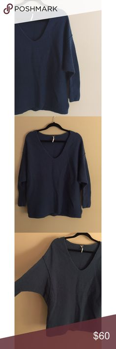 F R E E P E O P L E Blue • Oversized fit • Excellent condition • NO TRADES/HOLDS • All reasonable offers accepted • Free People Sweaters