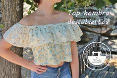 Cómo hacer un top o blusa sin hombros. Como sacar el patrón.