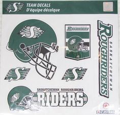 CFL Saskatchewan Roughriders Football Decal Stickers 6pc set NEW SEALED Saskatchewan Roughriders, Seal, Football, Stickers, Decal, Soccer, Harbor Seal, American Football, Seals
