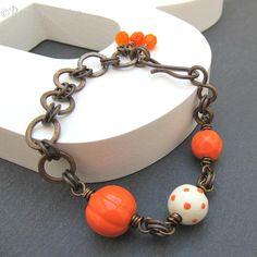 Ceramic bead and brass bracelet, Halloween. £18.00