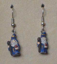 Hand Painted Wizard Earrings by tribeofthefaefolk on Etsy
