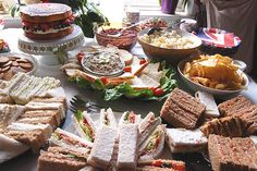 Picnic Wedding Buffet Table Ideas | We had a variety of sandwiches – smoked salmon and cream cheese ...