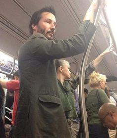 Keanu Reeves taking the subway