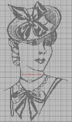 0 point de croix monochrome vintage lady au chapeau - cross stitch lady with hat