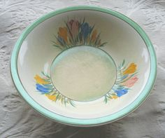 Old Clarice Cliff Crocus Pattern Newport Pottery China Bowl