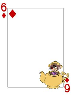 "Dormouse - 6 of Diamonds - Alice in Wonderland - Playing Card - Project Life Journal Card - Scrapbooking ~~~~~~~~~ Size: 3x4"" @ 300 dpi. This card is **Personal use only - NOT for sale/resale** Logo/clipart belongs to Disney. Font is Card Characters http://haroldsfonts.com/portfolio/card-characters/ *** Click through to photobucket for more versions of this card ***"
