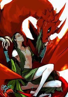 Loki & Thor AU || The Mage and his thunder Wyvern || Cr: Yuushishio