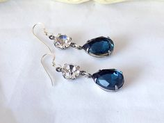 Montana Blue Earrings, Swarovski Crystal Montana Blue,Teardrop Earrings, Blue Dangle Earrings, Downton Abbey Jewelry, Victorian Earrings