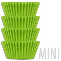 "- Solid and super vibrant lime green baking cups. - Made from a very nice quality medium-weight Swedish greaseproof paper. - Mini size 1-3/8""(3.5cm) bottom x 3/4""(2cm) tall - 50 Cups (approximately)"