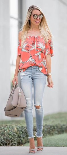 ootd off shoulder top + rips + bag