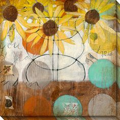 Gallery Direct Judy Paul 'Flowers and Circles II' Oversized Canvas Art
