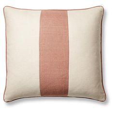Blakely 20x20 Pillow, Rose/Sand Linen