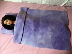Lavendar modeled Fleece pillow & blanket set by KelleysKreationsLV