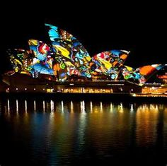 Colourful designs are projected onto the sails of the Sydney Opera House, Great Places, Places To See, Beautiful Places, Sydney Opera, Orchestra Concerts, Round The World Trip, Sydney Australia, Australia Trip, Land Art