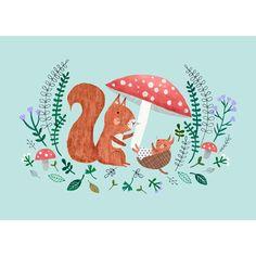 NEW * Baby Squirrel postcard or mini print - Rebecca Jones