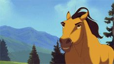 as an equestrian this movie just makes me so happy ok like in the eagle gif you can see spirit do a flying lead change and then he rockets forwards and it's just SO MUCH YES and he even shows bucking, kicking, rearing, lunging, hindquarter turns, lazy jogs, feisty trots, galloping, cantering, four-beating, and about every gait in between, the tail swishes and expressions through the ears especially. like i'll play assassins creed/skyrim and wish they were animated this amazingly