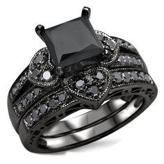 Noori 14k Black Rhodium-plated Gold 2 1/4ct TDW Certified Black Diamond Heart Bridal Ring Set