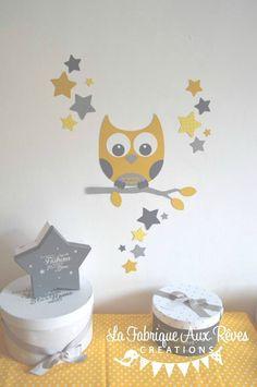 décoration chambre enfant bébé hibou étoiles turquoise caraïbe jaune ...
