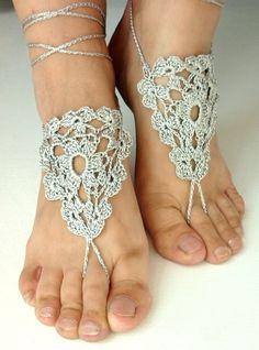 BAREFOOT SANDALS , Crochet Foot Jewelry, Wedding Silk Anklets. $14.00, via Etsy.